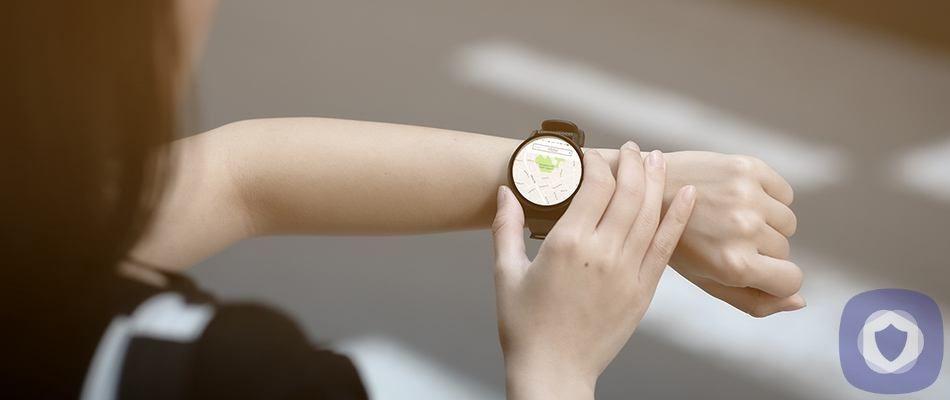 Woman using a GPS watch